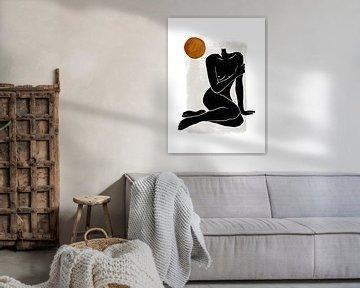 Vrouwelijk Naakt - Erotisch Silhouet Naakte Vrouw van Diana van Tankeren