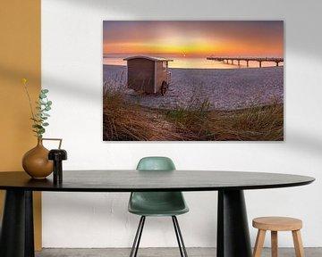 Strandwagen aan het strand van Scharbeutz aan de Oostzee van Voss Fine Art Fotografie