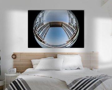 Fish eye opname van het Pontsteigergebouw van Wim Stolwerk