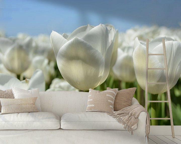 Sfeerimpressie behang: Tulpen, wit van Patricia Leeman