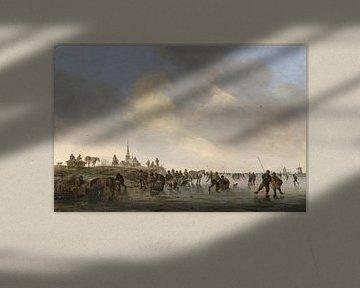 Schlittschuhlaufen auf der Merwede bei Dordrecht , Jan van Goyen