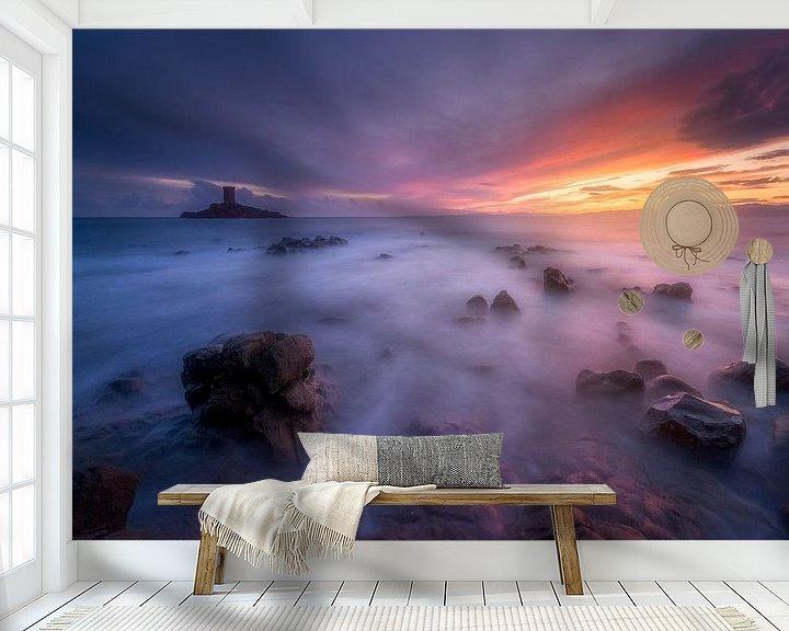 Beispiel fototapete: Sonnenuntergang über dem Dramont und der Goldenen Insel von Yannick Lefevre