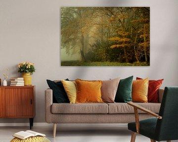 Schilderachtig herfstbos in de mist van Peter Bolman