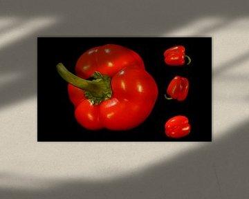 Collage rouge poivre fond noir sur Marion Hesseling