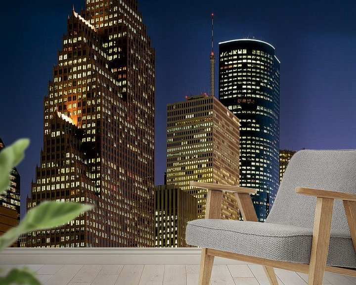 Sfeerimpressie behang: Skyline van Houston in de nacht - 1980s van Zeger Knops
