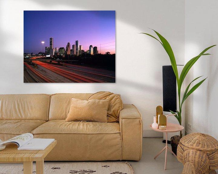 Sfeerimpressie: Skyline van Houston in de ochtend - 1980s van Zeger Knops