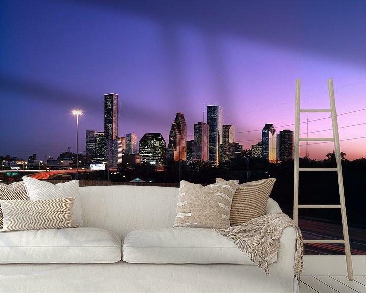 Sfeerimpressie behang: Skyline van Houston in de ochtend - 1980s van Zeger Knops