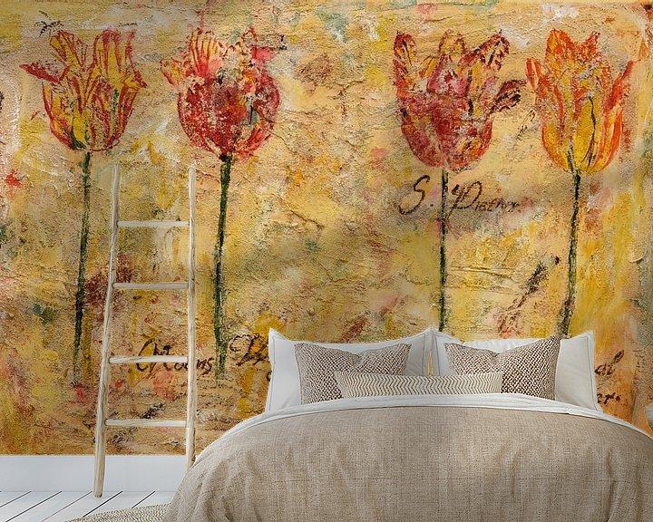 Sfeerimpressie behang: 4 op een rij! van Els Hattink
