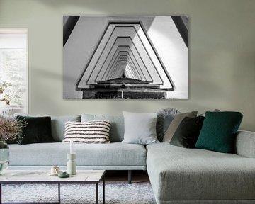 Schwarz-weiß-Perspektive der Pfeiler der Zeelandbrücke von Arie Jan van Termeij