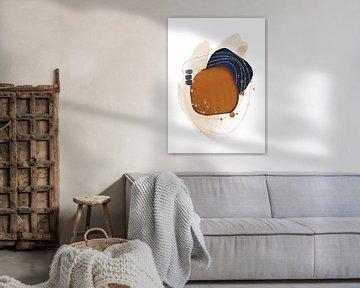 Abstrakte Aquarellformen in Terrakotta-Blau und Gold von Diana van Tankeren