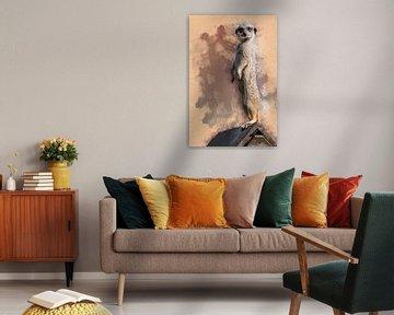 Stokstaartje staat stokstijf (kunstwerk) van Art by Jeronimo