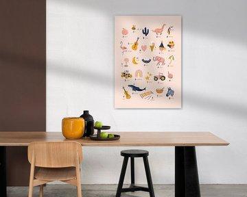 Alphabet-Poster Kinderzimmer rosa von Karin van der Vegt