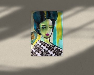 Geisha in Blau von Helia Tayebi Art
