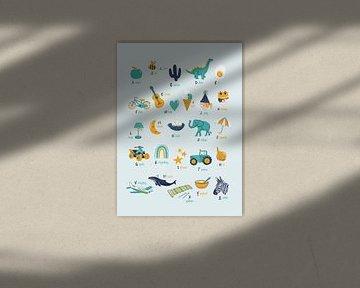 Alfabetposter kinderkamer mint van Karin van der Vegt