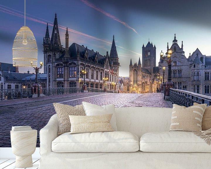 Sfeerimpressie behang: Iconic place Ghent van Wim van D