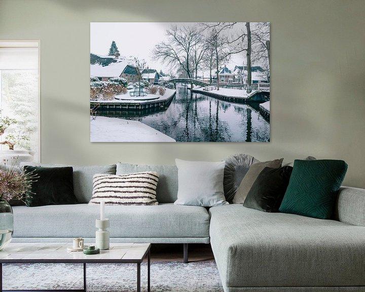 Impression: L'hiver au village de Giethoorn avec les célèbres canaux sur Sjoerd van der Wal