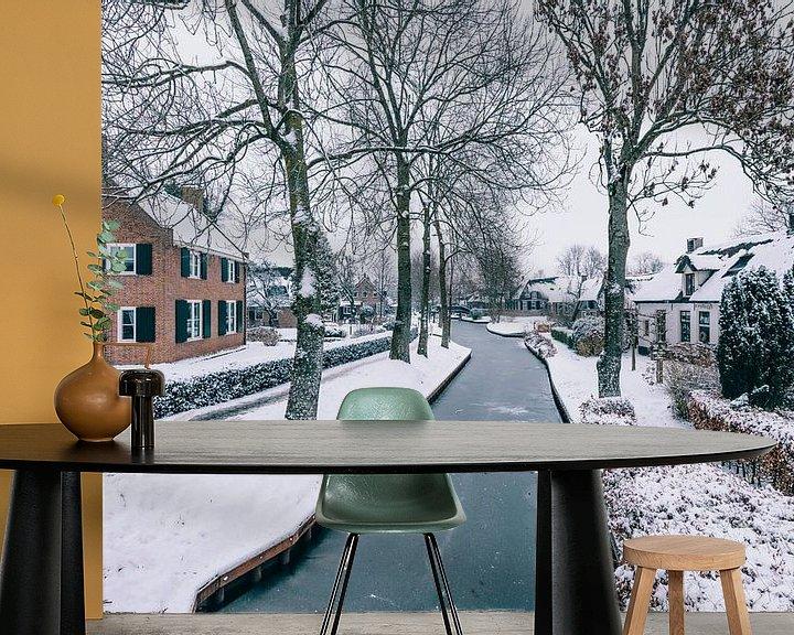 Sfeerimpressie behang: Winter in Giethoorn met de beroemde kanalen van Sjoerd van der Wal