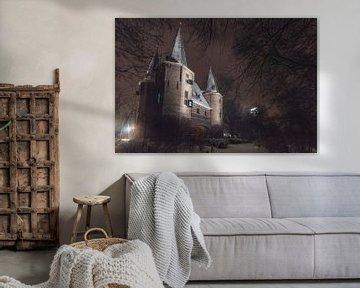 Broederspoort in Kampen tijdens een koude winternacht van Sjoerd van der Wal