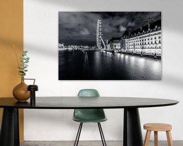 London Eye - Schwarz-Weiß von Jessica de Vries
