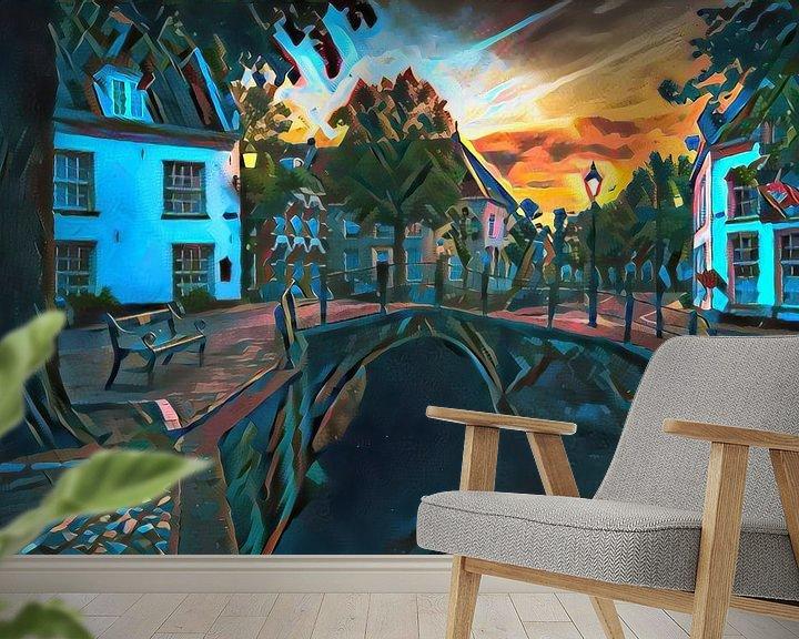 Sfeerimpressie behang: Kleurrijk schilderij Amersfoort: Heksenbrug in de avond van Slimme Kunst.nl