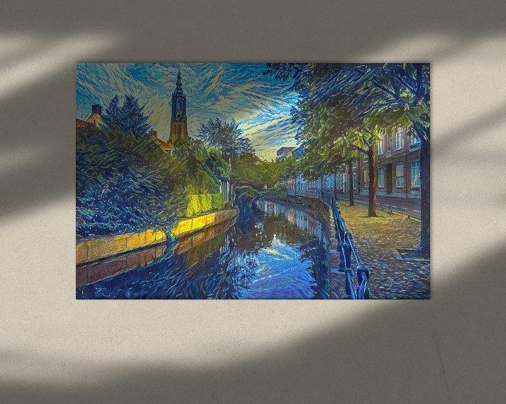 Sfeerimpressie: Vrolijk kunstwerk Amersfoort: Zuidsingel in de Stijl van Van Gogh van Slimme Kunst.nl