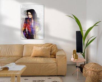 Michael Jackson Abstraktes Porträt in Rot-Violett-Orange-Weiß von Art By Dominic