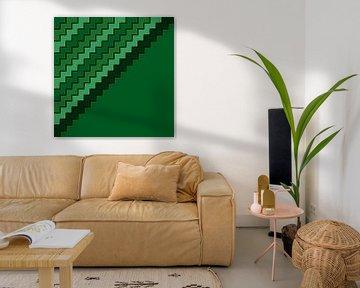 Abstract in groene tinten van Maurice Dawson