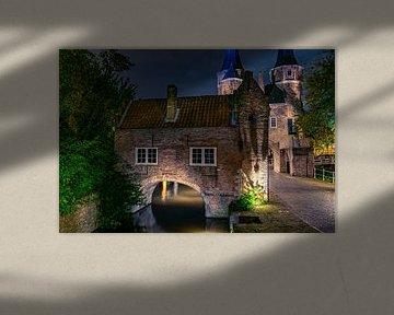Oostpoort Delft, een foto naar tekening van Anton Pieck van Erik van 't Hof