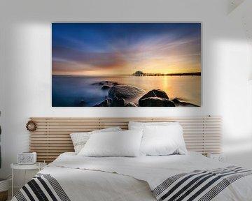 Timmendorfer strand aan de Oostzee met theehuis en pier van Fine Art Fotografie