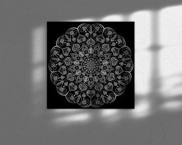 Mandala aus Herzformen, Linien und Punkten von Andie Daleboudt