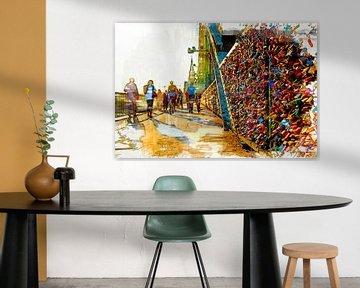 Liebesschlösser Brücke in Köln mit Dom von Michael Bartsch