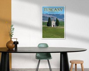 Vintage-Poster, Vitaleta-Kapelle, Toskana, Italien von Discover Dutch Nature