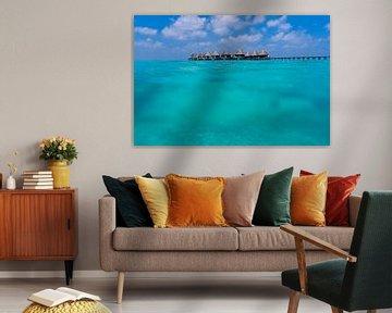Uitzicht onder en over het water op de Malediven van Christian Klös