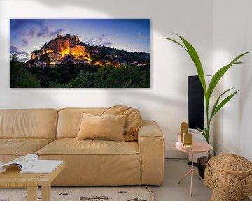 Rocamadour panorama in het blauwe uur