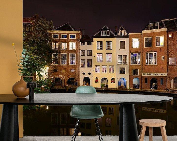 Beispiel fototapete: Oudegracht in Utrecht ter hoogte van de Lijnmarkt von Donker Utrecht