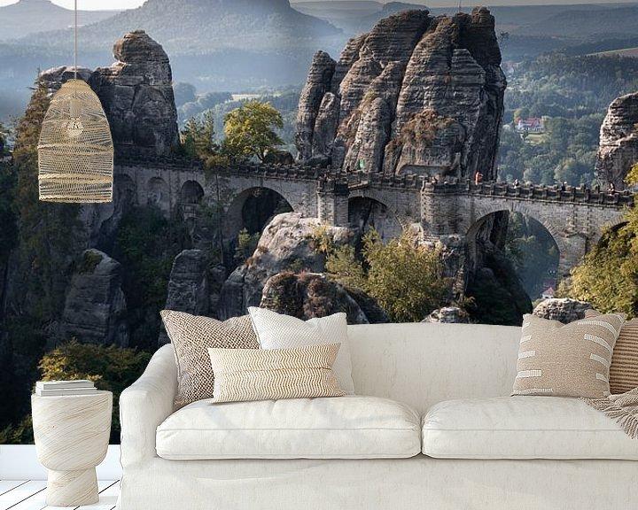 Beispiel fototapete: Basteibrücke in der Sächsischen Schweiz von Elles van der Veen