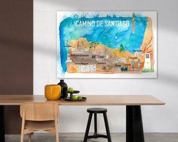 Camino de Santiago de Compostela reisposter favoriete kaart bedevaartshoogtepunten van Markus Bleichner