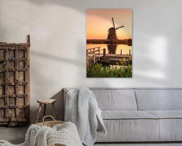 Windmühle bei Sonnenaufgang, Kinderdijk, Niederlande von Markus Lange