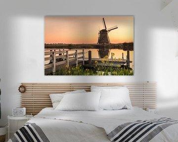 Windmolen bij zonsopgang, Kinderdijk, Nederland van Markus Lange
