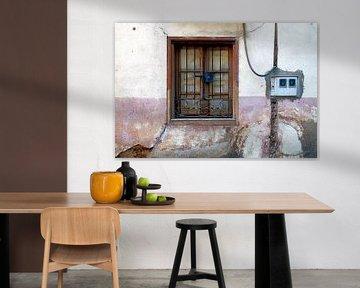 Pittoresk raam in oud roze gevel Astorga von Artstudio1622