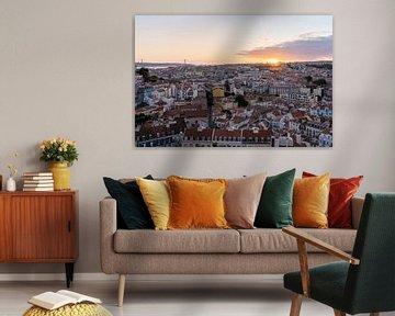 Lissabon Zonsondergang van Michiel Dros