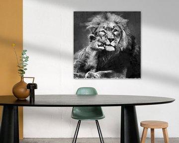 Ölgemälde Porträt eines Löwen mit Jungtier von Bert Hooijer