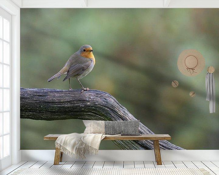 Beispiel fototapete: Robin auf der Lauer von Karin van Rooijen Fotografie