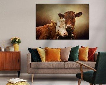 Twee Koeien In Mistig Landschap van Diana van Tankeren