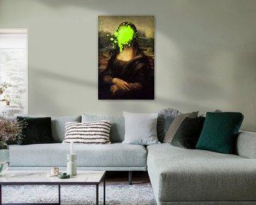Mona Lisa met groene verfvlek