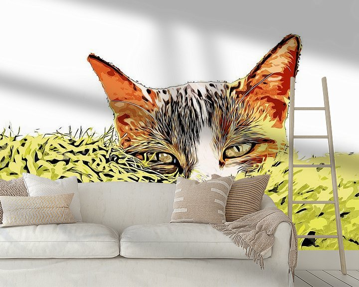 Sfeerimpressie behang: Kattengras van Petra Dreiling-Schewe
