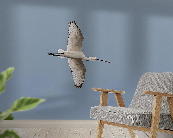 Beispiel fototapete: Fliegender Löffelreiher von Merijn Loch