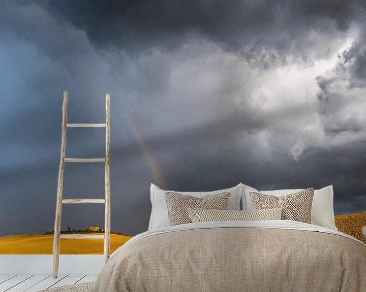 Sfeerimpressie behang: Dramatische hemel in Toscane van Denis Feiner
