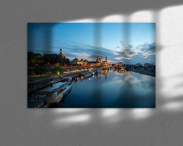 Oevers van de Elbe in Dresden van Sabine Wagner