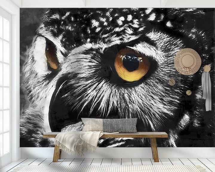 Beispiel fototapete: Ölgemälde Porträt einer Eule mit farbigen Augen von Bert Hooijer